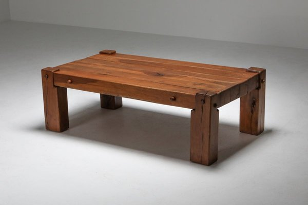 Mid Century Rustic Solid Oak Coffee Table 1960s For Sale At Pamono