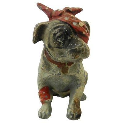 Hand Made Bronze Dog Boxer Pups Terrier Animal Ornament Vintage Statue Sculpture