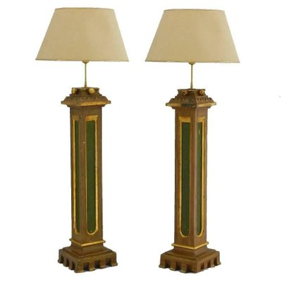 Spanish Arts Crafts Torchiere Church Table Lamps With Original Painted Columns Set Of 2 For Sale At Pamono