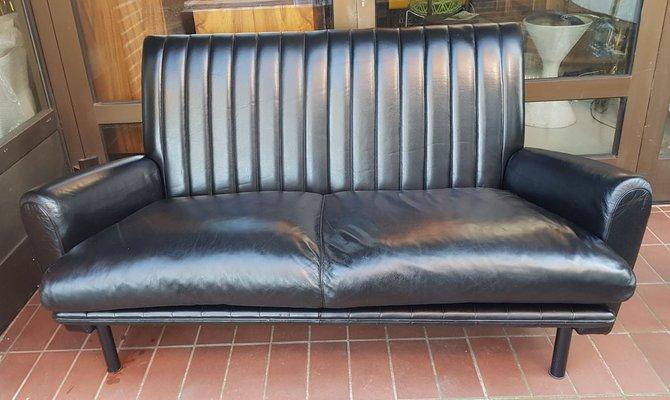 Black Leather Sofa By Poltrona Frau