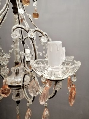 Pink Crystal Beaded Chandelier with Murano Glass Drops, 1940s