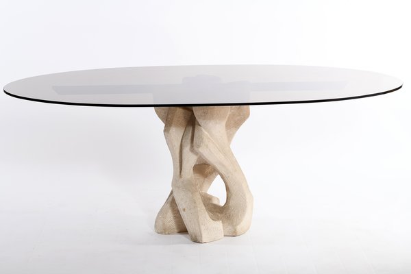 Mid Century Italian Oval Glass Top And Abstract Brutalist Sculptural Base Dining Table 1960s For Sale At Pamono