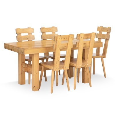 Vintage Pinewood Dining Table Chairs, Pine Dining Room Table And Chairs