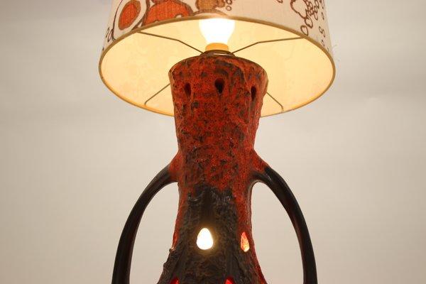 West German Red Ceramic Lava Floor Lamp