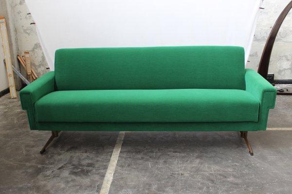Mid Century Italian Emerald Green Sofa