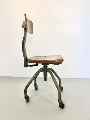 Vintage Industrial Iron And Wood Desk Chair By Trau Torino 1950s For Sale At Pamono