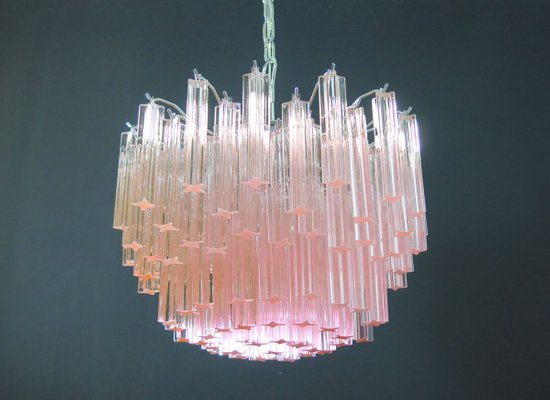 Murano Glass Pink Quadriedri Chandelier from Mazzega, 1980s