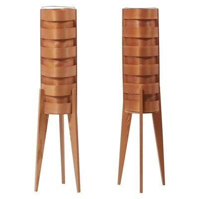Dreibeinige Stehlampen aus Holz von Hans Agne Jakobsson für AB Ellysett, 1960er, 2er Set