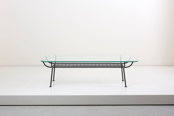 Wrought Iron Coffee Table With Glass Top By George Nelson For Arbuck 1950s For Sale At Pamono