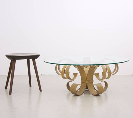 Large Italian Hollywood Regency Wrought Iron Coffee Table With Glass Top 1960s For Sale At Pamono
