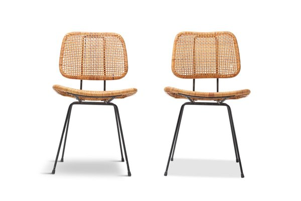 Dutch Cane And Black Metal Dining Chairs By Dirk Van Sliedregt 1950s Set Of 2 For Sale At Pamono
