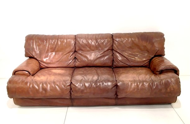 Cognac Leather Sofa From Roche Bobois