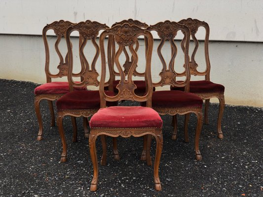 Antique French Oak Dining Chairs Set Of 6 For Sale At Pamono