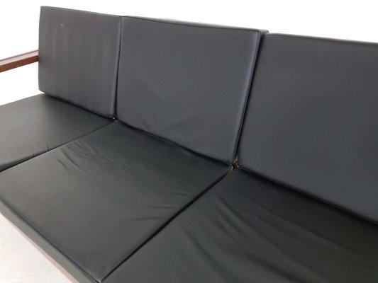 Rosewood Sofa With Black Vinyl