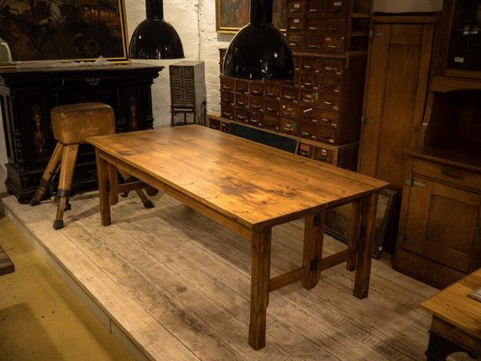 Large Antique Softwood Dining Table For Sale At Pamono