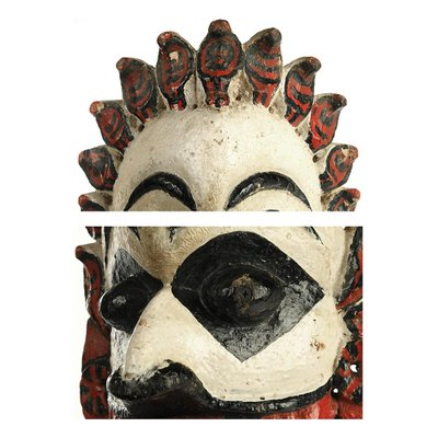 Polychrome Wood Indian Mask Sculpture For Sale At Pamono