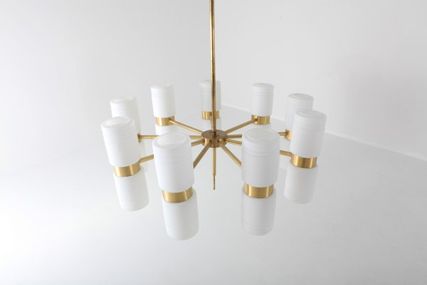 Brass and Blue Glass Tube Chandelier by Hans Agne Jakobsson
