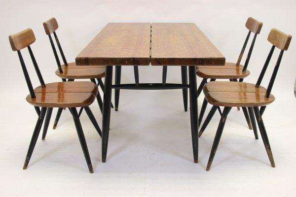 Scandinavian Pirkka Dining Table Chairs Set From Ilmari Tapiovaara 1950s Set Of 5 For Sale At Pamono
