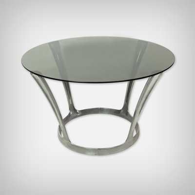 French Aluminum And Smoked Glass Dining Table By Boris Tabacoff 1960s For Sale At Pamono