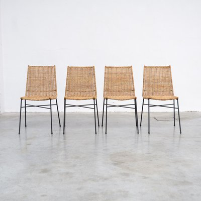 Italian Rattan Dining Chairs 1950s Set Of 4 For Sale At Pamono
