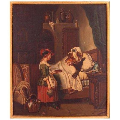 Peinture A L Huile Du Petit Chaperon Rouge Du 19eme Siecle Par Mari Pol France 1863 En Vente Sur Pamono