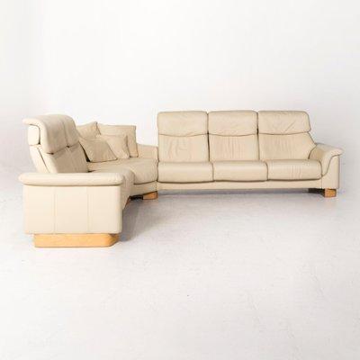 Paradise Cream Leather Corner Sofa With