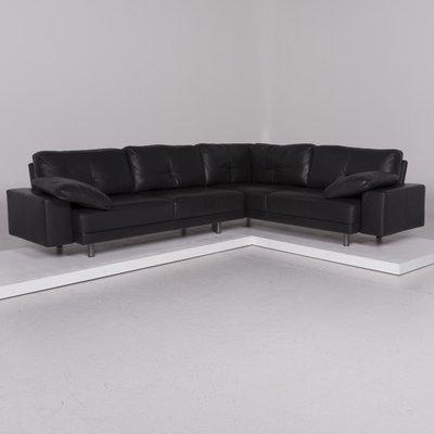 Black Leather Corner Sofa Set And Stool