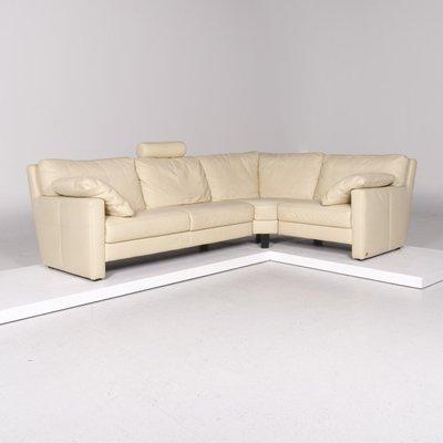 Sample Ring Cream Leather Corner Sofa