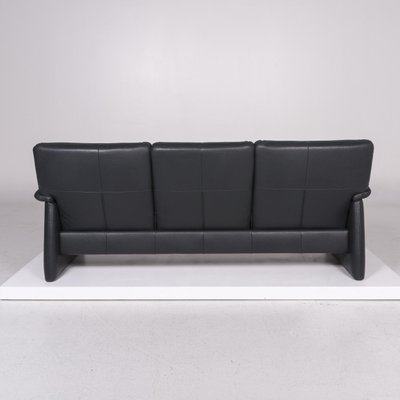 Dark Green Leather 3 Seat Sofa With
