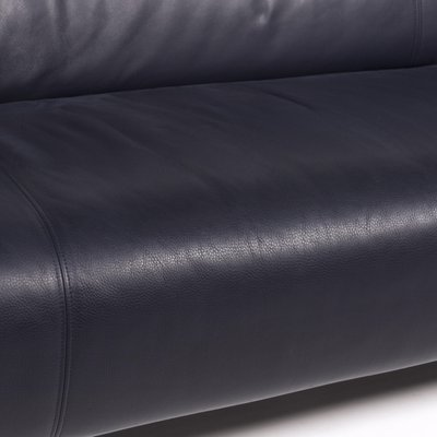322 Dark Blue Leather 3 Seat Sofa from Rolf Benz