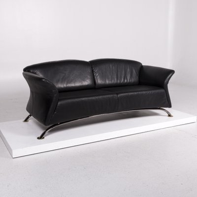 Ring Black Leather Sofas Armchair