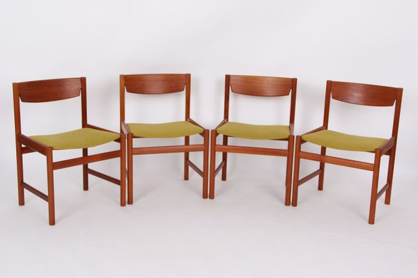 Mid Century Danish Teak And Fabric Dining Chairs Set Of 4 For Sale At Pamono