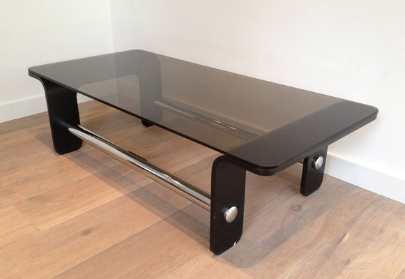 Mid Century Coffee Table In Black Wood, Chrome And Smoked Glass 1