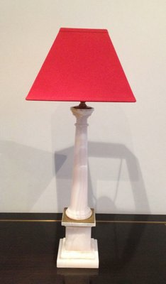 Italian Modern White Marble And Brass Column Lamps With Red Shades Set Of 2