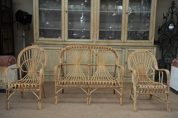 Vintage Wicker Bench And Chairs Set