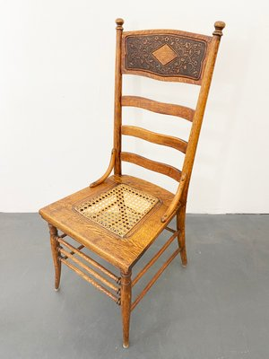 Antique Carved Wood And Wicker High
