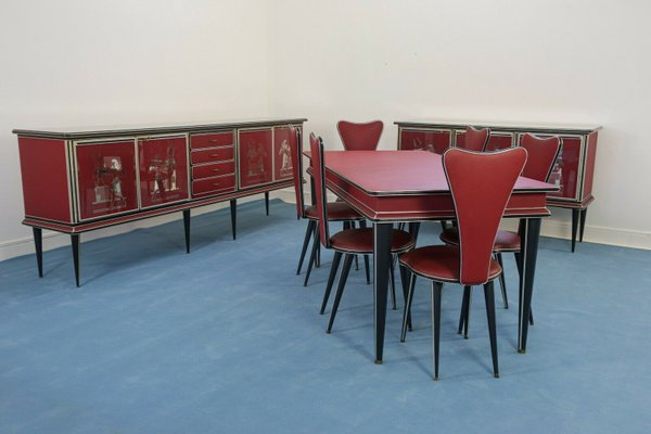 Vintage Dining Table Chairs Set By Umberto Mascagni 1950s Set Of 9 For Sale At Pamono
