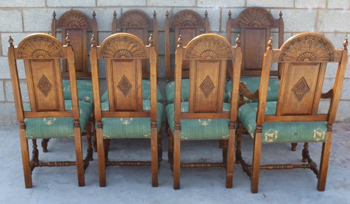 Golden Oak Refectory Table High Back Dining Chairs Set 1980s Set Of 9 For Sale At Pamono