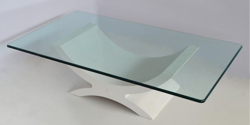Coffee Table With Crystal Top Wood Base With White Ecological Shagreen Details From Cupioli Luxury Living For Sale At Pamono