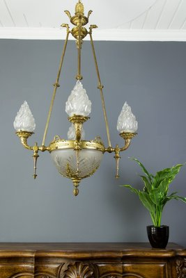 Antique Empire Style French Bronze and Frosted Flame Glass Chandelier