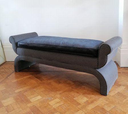 Hollywood Regency Geometric Fabric American Bench with Black Velvet Feather Cushion, 1960s