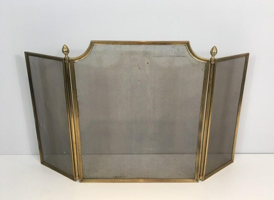 French Neoclassical Style Brass, Brass Fireplace Screen Vintage