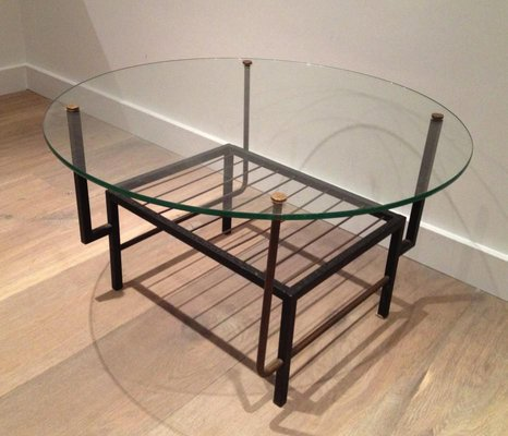 French Black Lacquered Metal And Brass, Small Round Metal And Glass Coffee Table