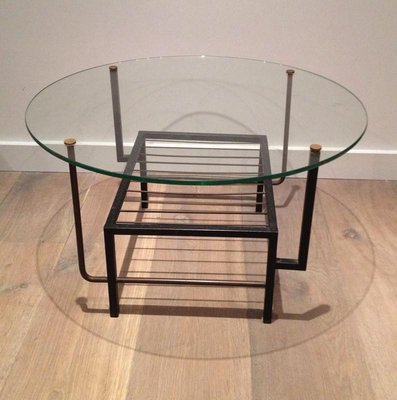 French Black Lacquered Metal And Brass Small Coffee Table With Round Glass Top In The Style Of Mathieu Mategot 1970s For Sale At Pamono