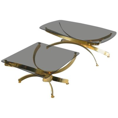 Vintage Glass Coffee Tables, Set Of 2 1