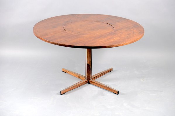 Mid Century Round Rosewood Dining Table With Rotating Tablet For Sale At Pamono