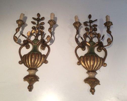 Applique vintage in legno dorato e intagliato italia set di