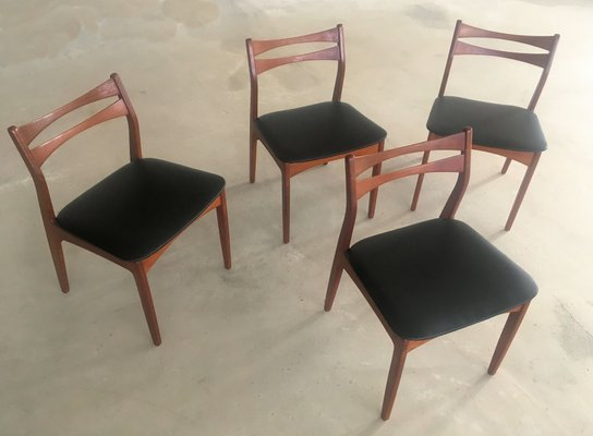 Danish Teak And Black Faux Leather Dining Chairs 1960s Set Of 4 For Sale At Pamono
