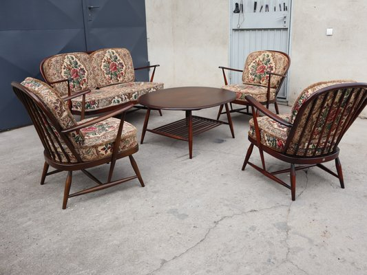 Mid Century Living Room Set by Lucian Ercolani for Ercol, 1960s, Set of 5