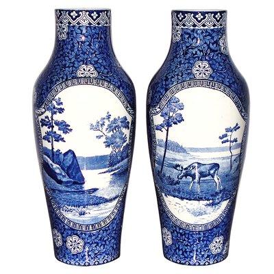 19th Century Swedish Porcelain Moose Blue Landscape Vases From Rorstrand Set Of 2 For Sale At Pamono